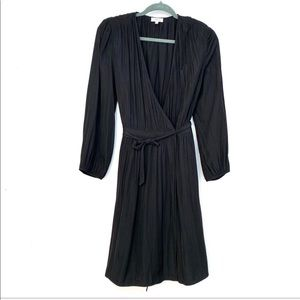 Wilfred  Black polyester wrap dress M #61067 B4